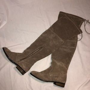 Shoes - Taupe/Brown suede over the knee boots